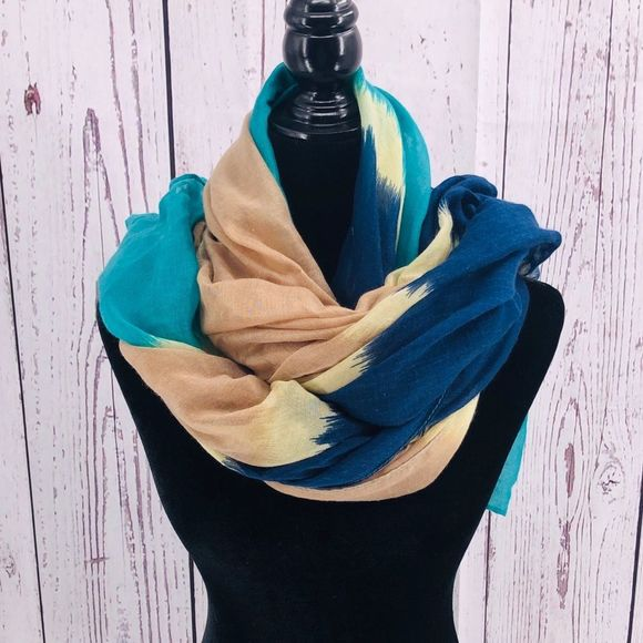 Scarf Shawl multi water colored teal